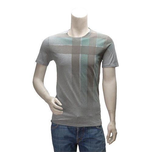 BURBERRY 經典多色格紋漸層暈染棉質圓領短袖T恤(灰-S)