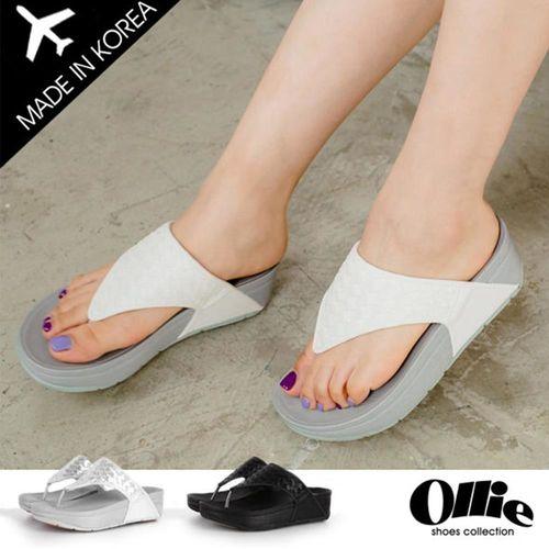 ollie正韓製爆瘦編織美體厚底涼鞋F720571 三色