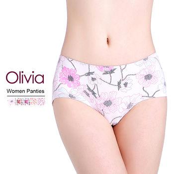 【Olivia】冰絲無痕印花女性內褲 (膚色花朵)