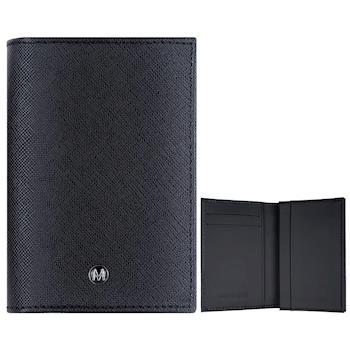 MONDAINE 瑞士國鐵牛皮十字紋豪華型名片夾~黑x黑