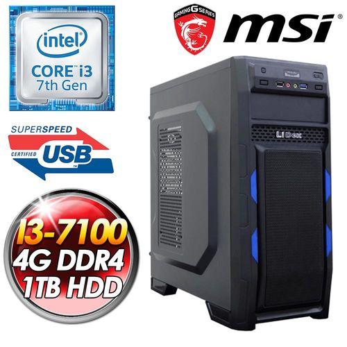 微星H110平台【赦免勳章】INTEL I3 7100 1TB HDD 4G D4 400W POW  雙核效能娛樂桌上型電腦