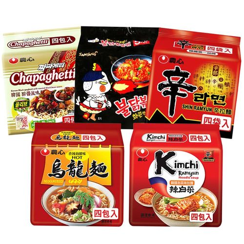 韓國熱銷泡麵10件組(辛拉麵(4入組)*2+海鮮辣烏龍(4入組)*2+泡菜拉麵(4入組)*2+醡醬風味麵(4入組)*2+辣炒雞肉麵(5入組)*2)