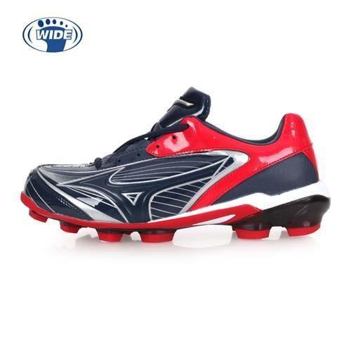 MIZUNO SELECT 9 男女棒壘球鞋-WIDE-寬楦 棒球 壘球 美津濃 丈青紅