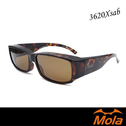 【MOLA 摩拉】近視外掛式時尚偏光太陽眼鏡-3620Xsab