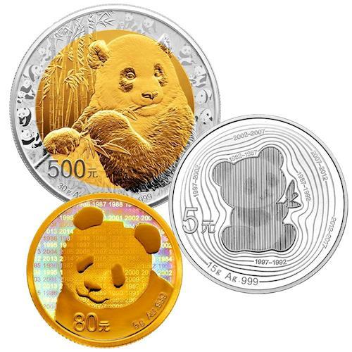 2017 中國熊貓金幣發行35週年 雙金屬紀念幣組