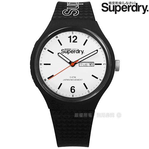 Superdry 極度乾燥 / SYG179WB / 菱格紋防水品牌日期星期矽膠手錶 白x黑 43mm