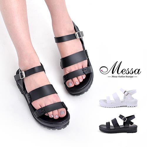 【Messa米莎專櫃女鞋】MIT 南韓手感縫線設計一字厚底涼鞋-二色