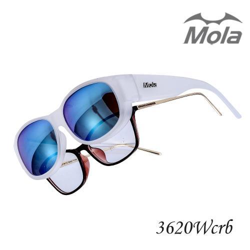 MOLA摩拉外掛式偏光太陽眼鏡 時尚 套鏡 彩色多層膜 男女一般臉型 近視可戴-3620Wcrb