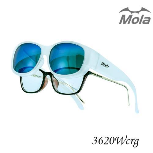 MOLA摩拉外掛式偏光太陽眼鏡 時尚 套鏡 彩色多層膜 男女一般臉型 近視可戴-3620Wcrg