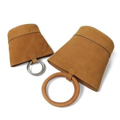【米蘭精品】肩背包真皮手提包復古絨面圓環水桶2款73oa33