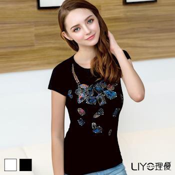 【LIYO理優】寶石項鍊印花水鑽T恤 522013