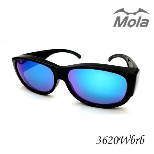 MOLA摩拉前掛式偏光太陽眼鏡 套鏡 冰藍彩色多層膜 男女一般臉型 近視可戴-3620Wbrb