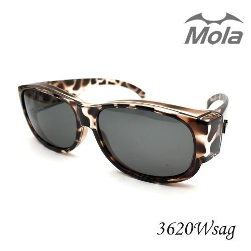 MOLA 摩拉外掛式偏光太陽眼鏡 套鏡 男女 近視可戴-3620W-sag