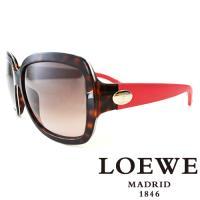 LOEWE 皮革腳金屬LOGO太陽眼鏡(豹紋) SLW774~07R4