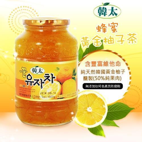 【韓太】韓國黃金蜂蜜(柚子茶*2+葡萄柚茶*1)1kg*3入組