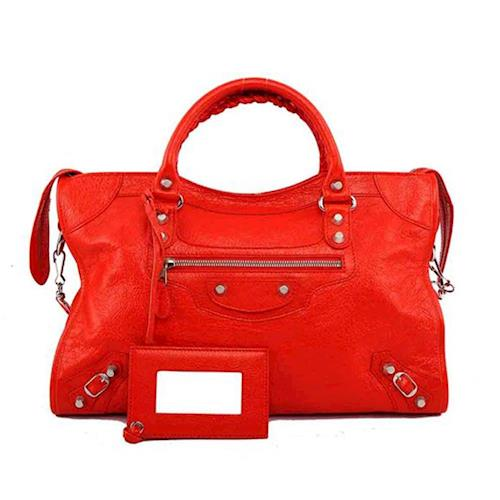 BALENCIAGA 銀釦 CITY 機車包_展示品 (紅色 RED)(OUTLET) 281770 D94JN 6575