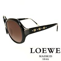 LOEWE 西班牙皇室品牌羅威 3LOGO太陽眼鏡 黑  SLW741~0700