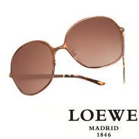 LOEWE 西班牙皇室品牌羅威 素面皮革太陽眼鏡 咖啡色  SLW381~0A16