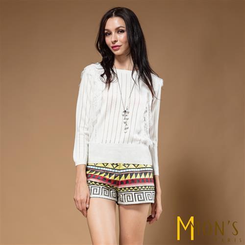 MONS英國針織蕾絲質感羊毛上衣
