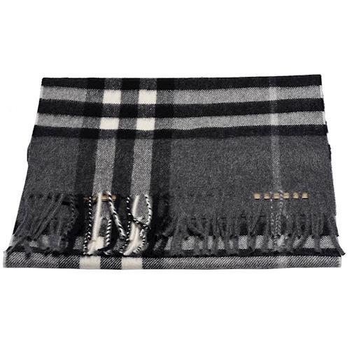 BURBERRY 經典大格紋喀什米爾羊毛圍巾(灰)