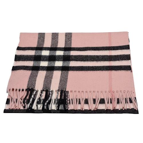 BURBERRY 經典大格紋喀什米爾羊毛圍巾(煙薰玫瑰)