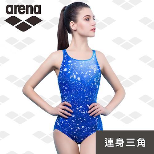 arena 限量 秋冬新款 訓練款 TMS7110WA 女士連體三角泳衣 專業運動健身泳衣 炫麗星空時尚