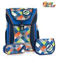 ~TigerFamily~學院風超輕量護脊書包~紳士藍 含文具袋 鉛筆盒