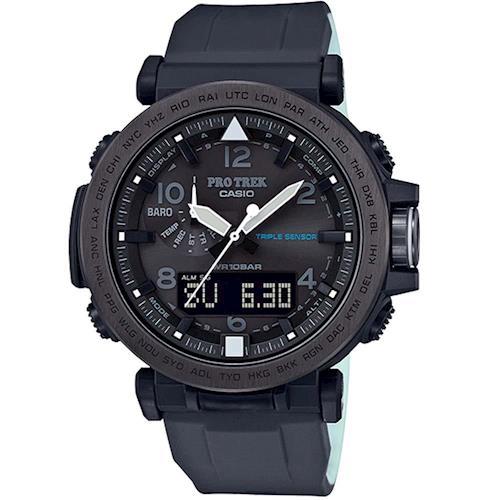 【CASIO】PROTREK 完美奢華夜間照明登山錶-黑框X黑 (PRG-650Y-1)