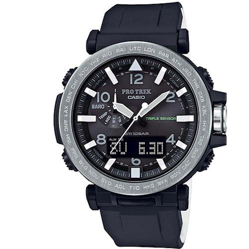【CASIO】PROTREK 完美奢華夜間照明登山錶-銀框X黑 (PRG-650-1)