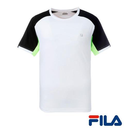 FILA男仕圓領運動T恤(純淨白)1TEQ-5010-WT
