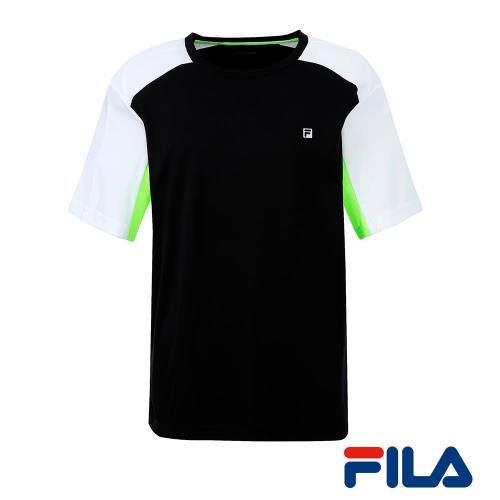FILA男仕圓領運動T恤(時尚黑)1TEQ-5010-BK