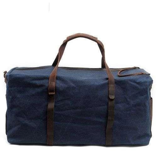 【Zoes】蠟染帆布搭瘋馬皮大容量斜挎防水旅行袋
