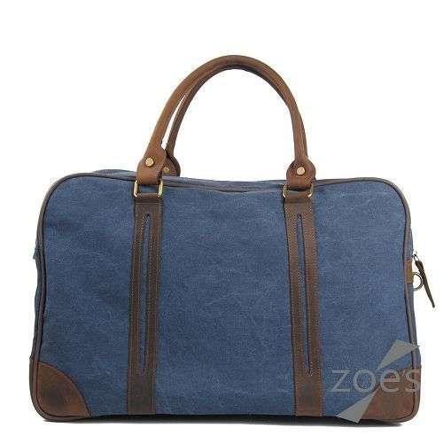【Zoes】蠟染帆布搭瘋馬皮大容量兩用防潑水旅行袋