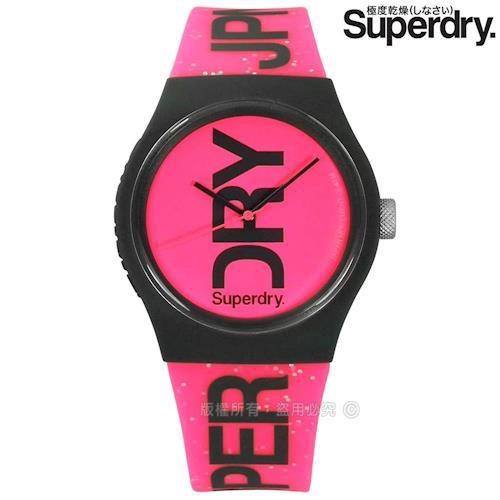 Superdry 極度乾燥 / SYL189PP / 日系雙色休閒防水品牌LOGO矽膠手錶 粉x深灰框 38mm