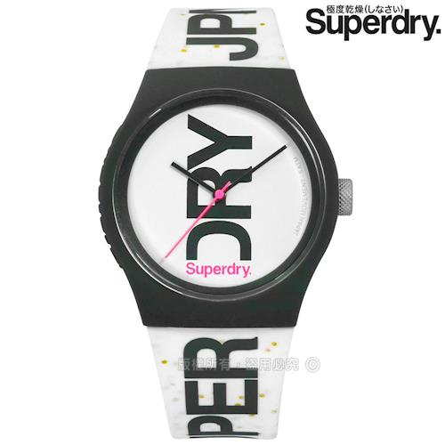 Superdry 極度乾燥 / SYL189WB / 日系雙色休閒防水品牌LOGO矽膠手錶 白x深灰框 38mm