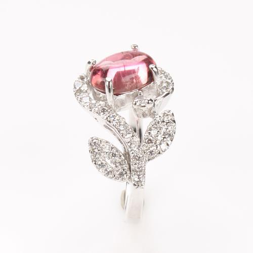【寶石方塊】一朵小花天然碧璽戒-尾戒