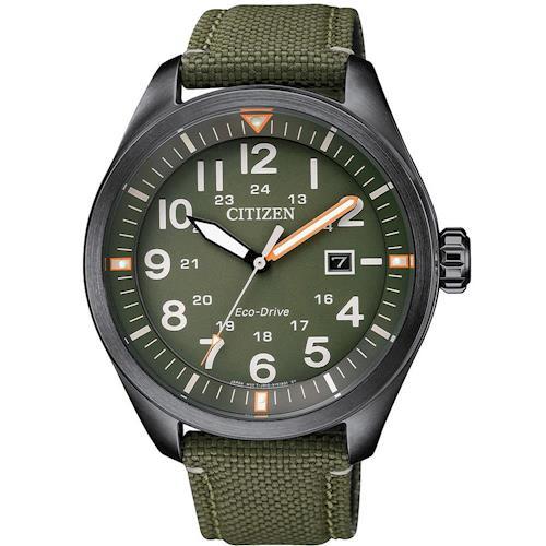 CITIZEN 星辰光動能 即刻倒數 大數字運動錶(綠/42.5mm) AW5005-21Y