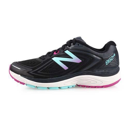 NEWBALANCE 860 V8 女穩定型跑鞋-D-寬楦 慢跑 愛迪達 黑湖水藍