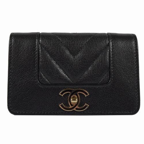 CHANEL A70117 經典雙C菱格紋小羊皮名片零錢夾.黑