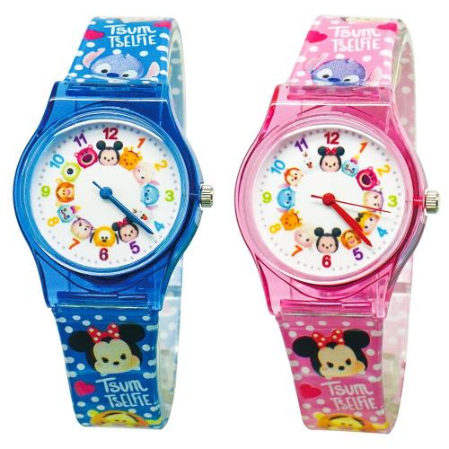 【Disney迪士尼】卡通錶(大) - Tsum Tsum 系列 圓滾滾  瘋狂派對休閒手錶 (藍色 / 粉紅色)