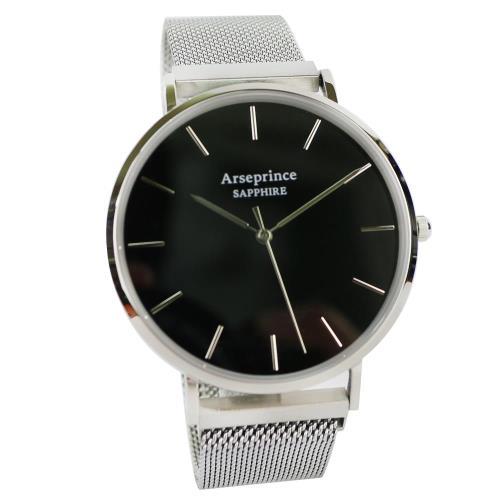 Arseprince 極簡雅緻米蘭銀帶中性錶-黑