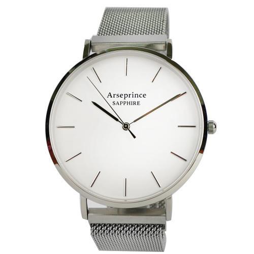 Arseprince 極簡雅緻米蘭銀帶中性錶-白