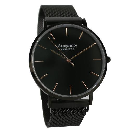 Arseprince 極簡雅緻米蘭帶中性錶-黑