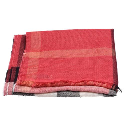 BURBERRY 經典格紋輕盈喀什米爾圍巾(亮色玫瑰-175X50cm)
