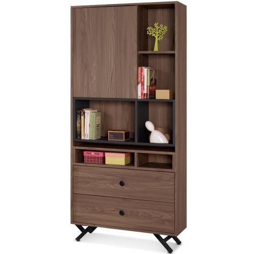 【MY傢俬】簡約工業設計風格2.7尺二抽書櫃(兩色可選)