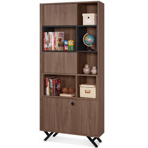 【MY傢俬】簡約工業設計風格2.7尺開門書櫃(兩色可選)