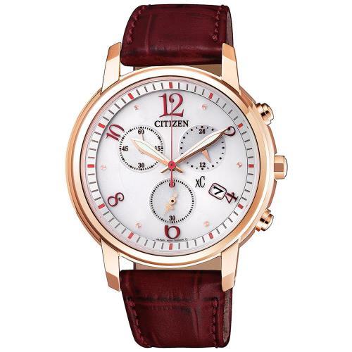 【CITIZEN 星辰】廣告款亞洲限定XC時尚知性光動能計時女用皮帶腕錶(FB1432-12A)