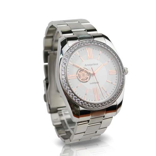 【Arseprince】都會時尚立體鑲鑽銀帶中性錶-白