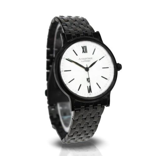 【Arseprince】羅馬生活時尚中性錶-黑