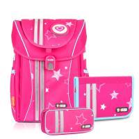 ~TigerFamily~學院風超輕量護脊書包~粉紅星星 文具袋 鉛筆盒
